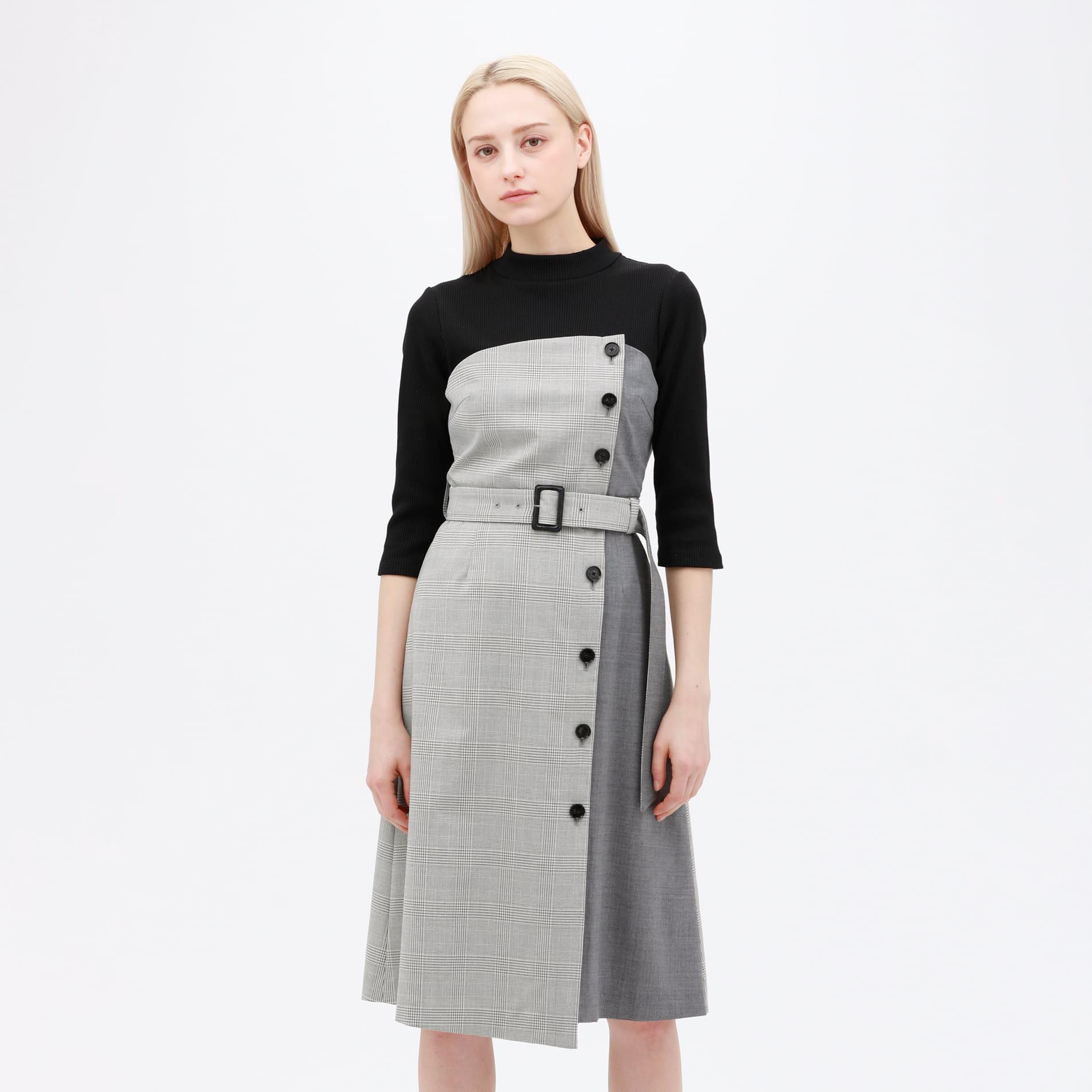 チェック ブロッキング モックドレス