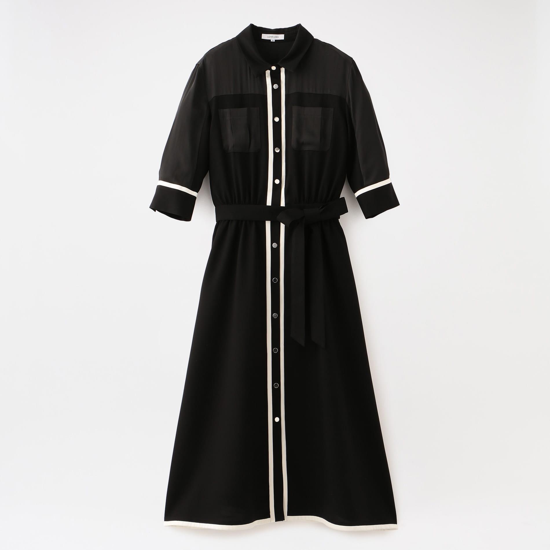 バイカラー パイピングドレス