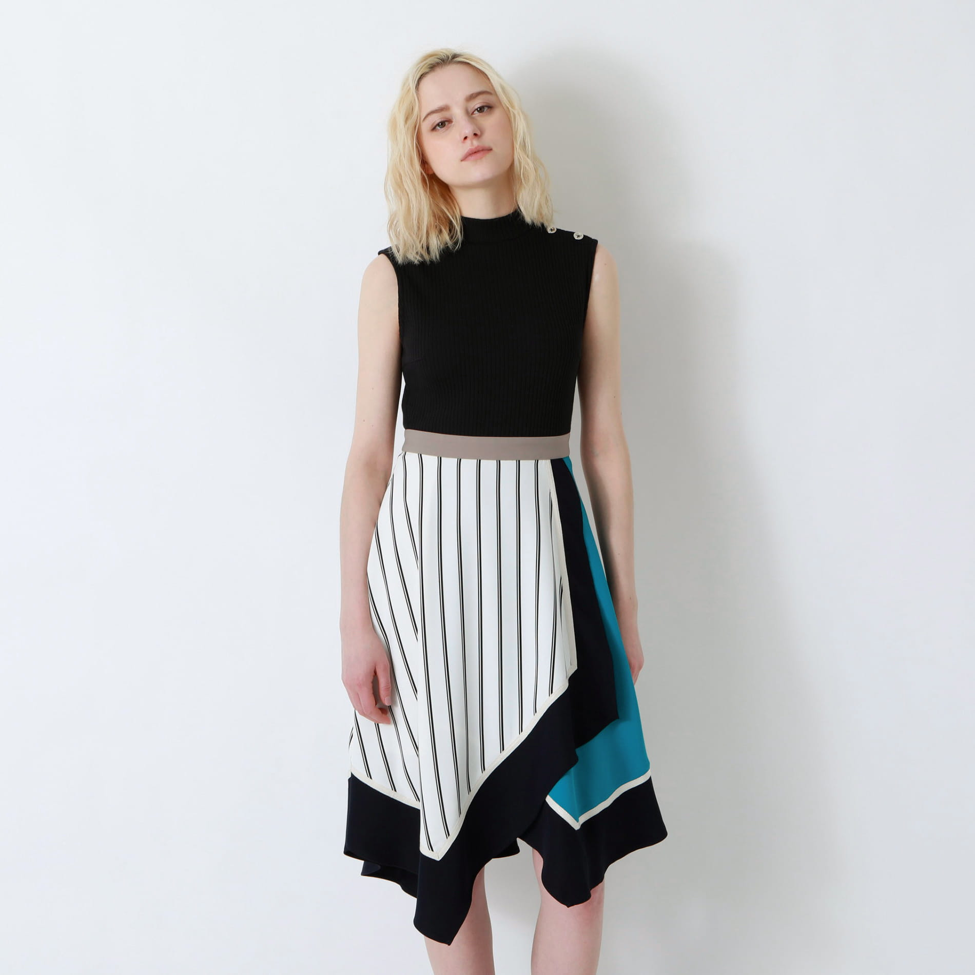 ブラックアシンメトリー カラーブロック ドレス