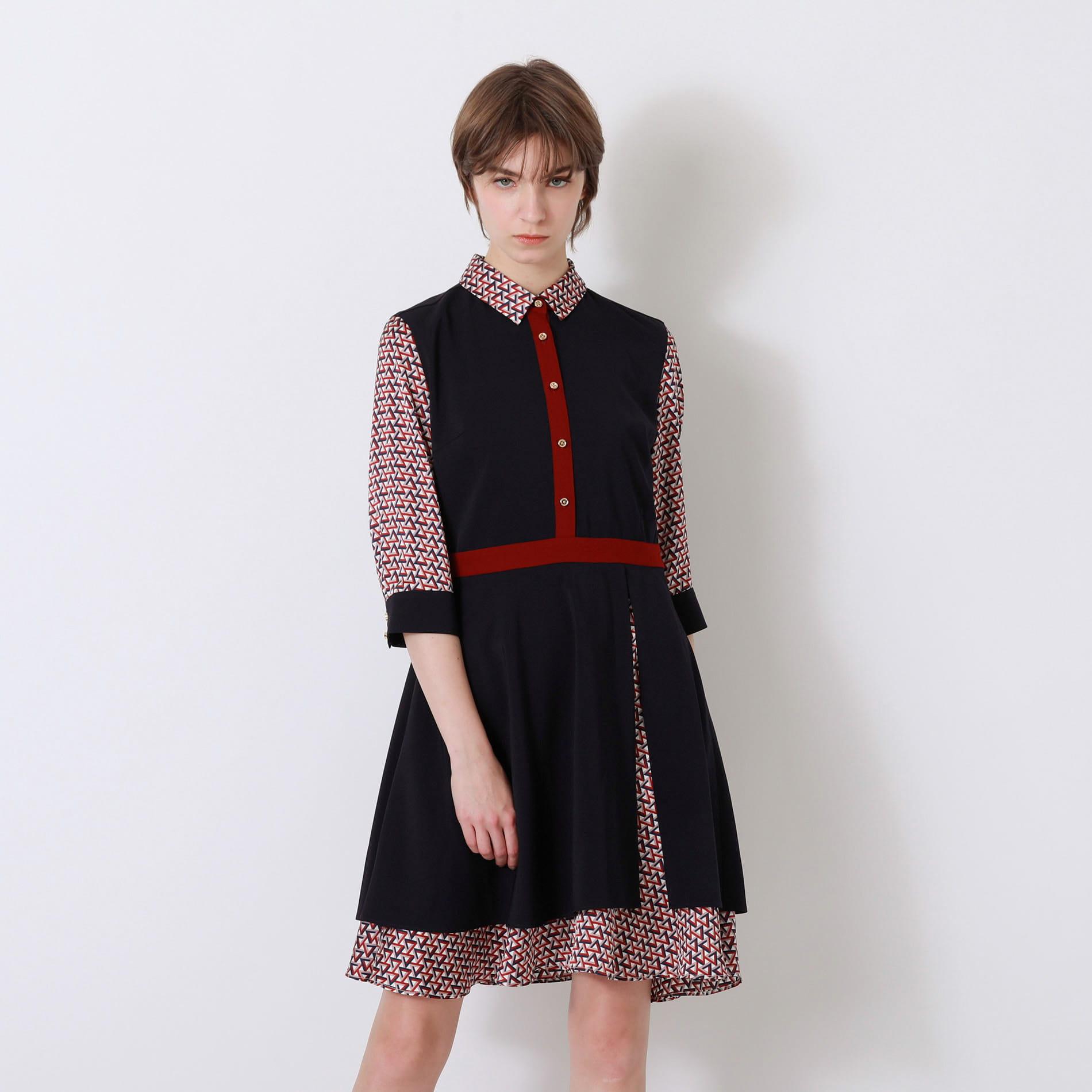 ネイビー ジオメトリック シャツカラー ドレス